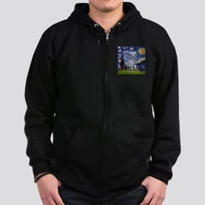 Starry Night Deerhound Zip Hoodie (dark)